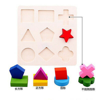 1Set Kid Baby Wooden Geometry Block Montessori Early Learning Educational Toy