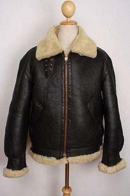 Vtg B-3 Sheepskin Leather Winter Flight Jacket Medium
