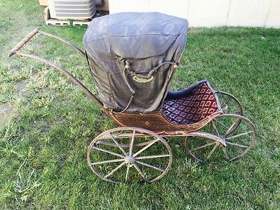 1850's baby carriage leather roof Victorian style