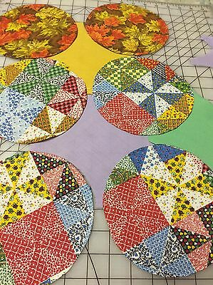 Vintage 70's Circle Quilt Blocks Flowering Snowball 310 Pieces * 1.2 lbs Fabric