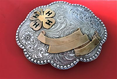 """Four """"H"""" Wage's  Sterling Silver Overlay Belt Buckle"""