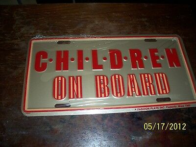 I Love Chidren On Board! Metal Moulded License Plate,made In Usa.