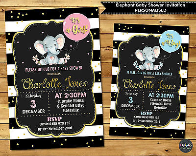 Elephant Baby Shower Personalised Invitation Invite Card Girl Boy Gold Pink Blue