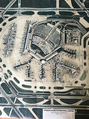 """Aerial Photo O'hare Field 1993 Airport 63"""" X 33 1/2 Large Vintage Photograph"""