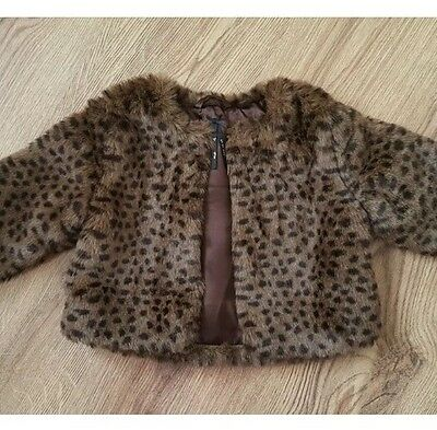 NEXT GIRLS Party Occasions BROWN FUR LEOPARD PRINT COAT/JACKET Over Dress 4
