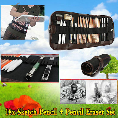 18pc Sketch Pencils + Charcoal Pencil Eraser Set Art Craft for Drawing Sketching