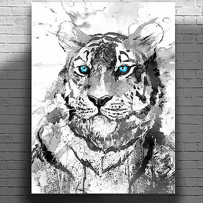 """Beautiful White Tiger Abstract Watercolour Canvas Print Poster 18X24"""""""