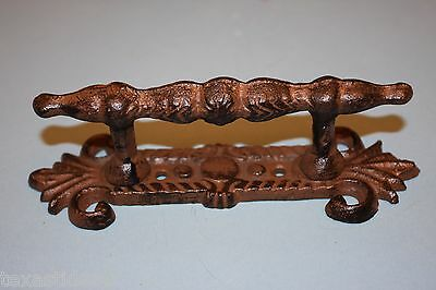 "(2) Ornate Handle With Back Plate,victorian Drawer Pull,6 7/8"" Cast Iron,hw-05"