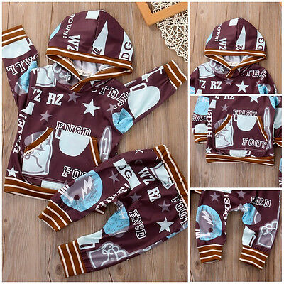 2pcs Newborn Kids Baby Boy Girl Clothes Tracksuit Hooded Tops+Pants Outfits Set
