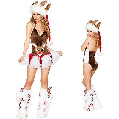 Sexy Ladies Elf Rudolf Reindeer costume Christmas Party Fancy Dress Xmas Outfit