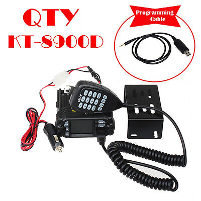 QYT KT-8900D Quad-Standy Car Mobile Radio w/ Microphone+3FT Programming Cable