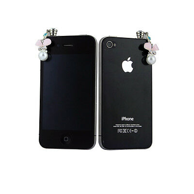 Pink Earphone Jack Anti Dust 3.5mm Plug Crystal Butterfly for iPhone 6 6S Plus