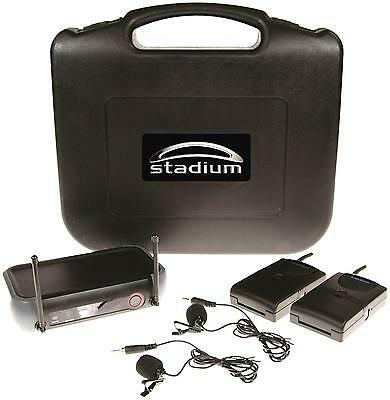Stadium Twin Wireless Lapel microphone Pack transmitter Case WLAPEL2A 80M *RFB*