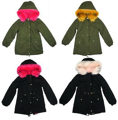 Girls Bright Faux Fur Hooded Parka Style Khaki Black Coat 3 to 14 Years (M20)