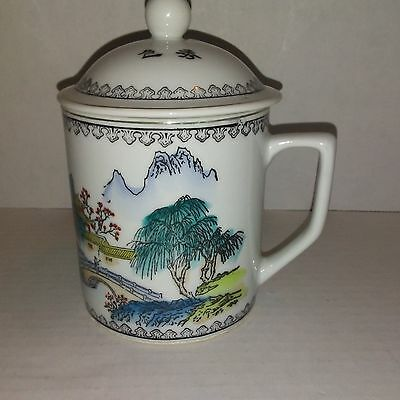 Chinese Porcelain Tea Cup with Lid Mountain and Tree Design