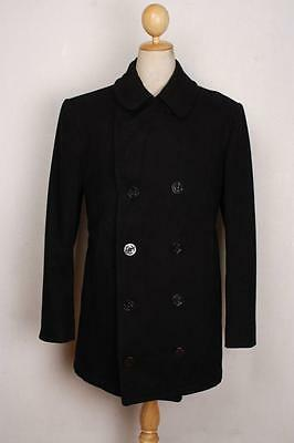 Vtg 1985 Cavalier Clothes Black US NAVY Wool Winter PEA COAT Size 40