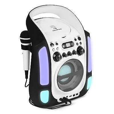 Auna Karaoke Play Machine Mp3 Cd Usb Player Led Light 2 Mics Portable Black
