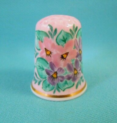 Bone China Thimble HAND PAINTED with Violets