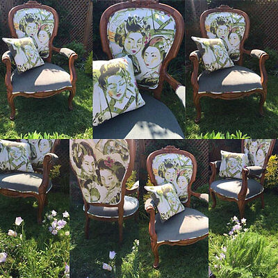 Pair of Stunning Walnut French Style Chairs, Beautifully Re-Upholstered