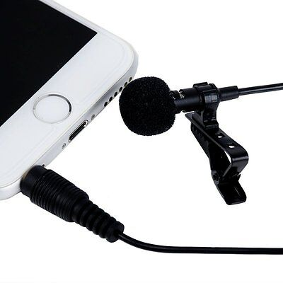 Clip-on Lapel Mini Lavalier Mic Microphone For iPhone Smart Phone Samsung