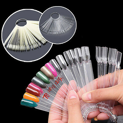 50 Pcs Nail Art Tips Pop Sticks Display Fan Fashion Starter Ring Clear DIY