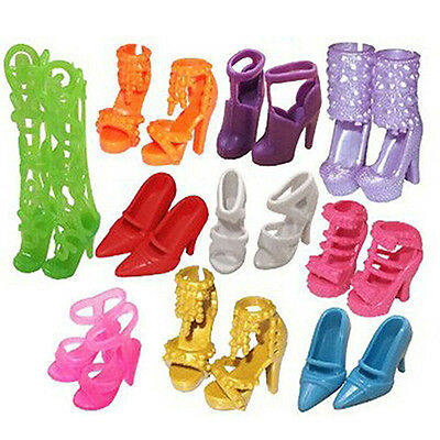 10 Pairs Cute Party Daily Wear Dress Clothes Mini Shoes for Barbie Doll Sturdy