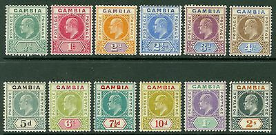 SG 57-68 Gambia 1904 MCA set of 12 values. ½d-2/-. Fine fresh mounted mint...