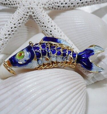 Wiggle Fish Cloisonne Charm Pendant Bead Dark Blue Enamel Gold Plated Med 50 MM