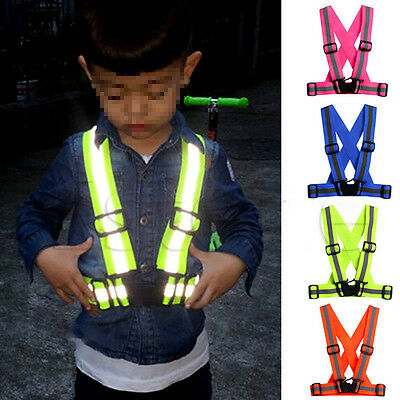 Kids Adjustable Safety Security Visibility Reflective Vests Gear Stripes Jacket