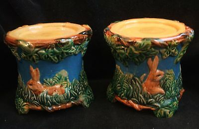 2 Vintage Majolica Pottery  Turquoise Candle Holders with Bunnies Rabbits