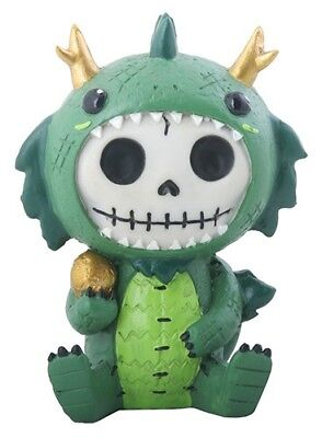 FurryBones Tatsu Figurine Dragon Cute Green Collectable Skeleton Skull Gothic