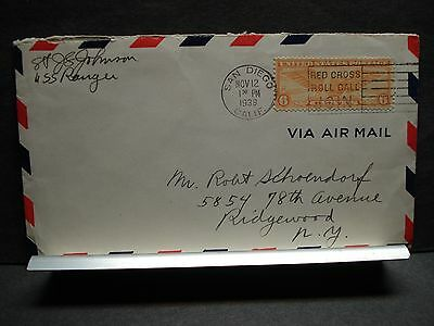 WWII Aircraft Carrier USS RANGER CV-4 Naval Cover 1938 SAN DIEGO, CALIF