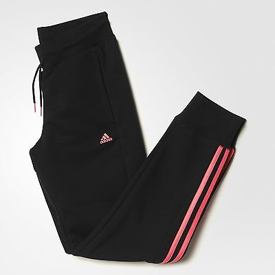 Size 7-8 Years Old - Adidas 3 Stripes Cuffed Jog Fleece Pants - Black / Pink
