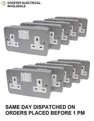 Metal Clad Double 2 Gang Twin Electrical Switched Socket 13amp PACK OF 10