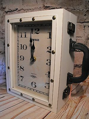 Shabby Chic Cream Mantel Clock Large Vintage Off White Carriage Clock + Key Box