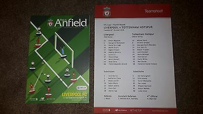 Liverpool v Tottenham EFL Cup fourth round with teamsheet