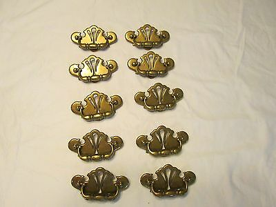 10 Ornate Brass Chippendale Style Drawer Drop Bail Pull Handle Colonial  4 1/2""