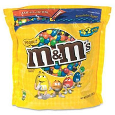 Mars, Inc MRSSN32437 M&Ms Chocolate Candy, with Zipper on Bag, 42 oz., Peanut