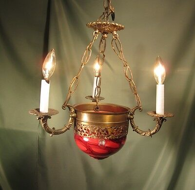 BLOWN GLASS ANTIQUE CHANDELIER, Three Bulb Brass and Glass Chandelier on Chain