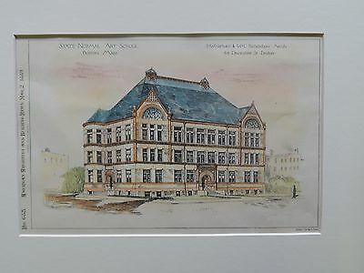 State Normal Art School, Boston, MA, 1889, Original Plan. Hartwell & Richardson