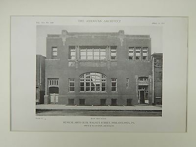 Main Elevation, Musical Arts Club, Walnut St, Philadelphia, PA, 1919, Lithograph