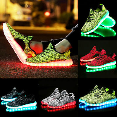 Unisex Knit 7 LED Light Lace Up Luminous Shoes Sneaker USB Rechargeable Dance