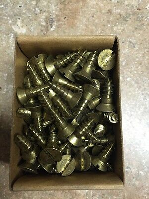 Vintage # 14 X 3/4 Inch Flat HEAD BRASS SLOTTED WOOD SCREWS-144 PER BOX