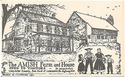 The Amish Farm and House East of Lancaster PA Postcard