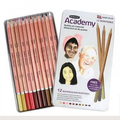 Derwent Academy Watercolour Pencils Skintones 12 Tin Set Soft Water-Soluble