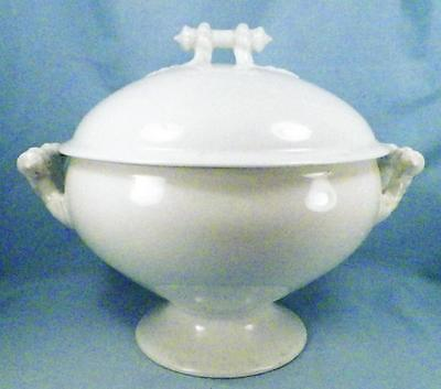 Antique Ironstone Soup Tureen Covered White Rope & Bar Handles A Beauty