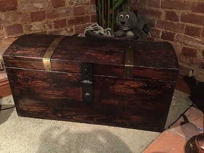 Antique Dark Pine Dome Top Chest Trunk Coffer Treasure Chest Pirates