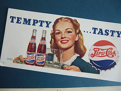1940's vintage PEPSI COLA  double dot ink blotter ** EXTRA nice