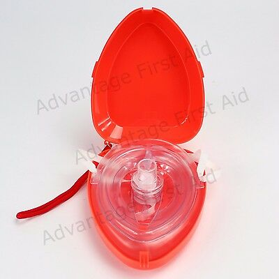 CPR Resuscitation Aid. O2 Inlet. In Compact Hard Clamshell Case - RED.