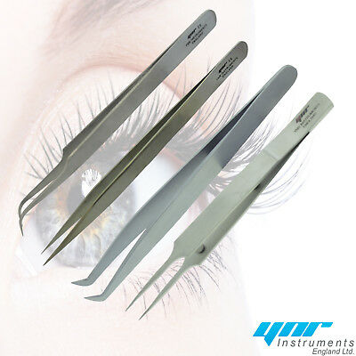 YNR Individual Eyelash Extension Tweezers Swiss Quality Fanning Straight Curved